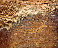 I found this remote and hidden Native American petroglyph in Utah Canyonlands and recorded it with my large format sheet film camera to bring out all the details in this bizarre Indian art.