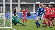 Jeppe Kjær (FC Helsingør) bringer sit hold foran 1-0 under kampen i 2. Division mellem Holbæk B&I og FC Helsingør den 20. oktober 2019 i Holbæk Sportsby (Foto: Claus Birch).