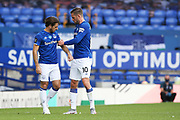 Everton midfielder Gylfi Sigurdsson (10) gives Everton defender Leighton Baines (3) the captains armband for the last time during the Premier League match between Everton and Bournemouth at Goodison Park, Liverpool, England on 26 July 2020.