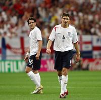 Photo: Chris Ratcliffe.<br /> England v Portugal. Quarter Finals, FIFA World Cup 2006. 01/07/2006.<br /> Owen Hargreaves  and Steven Gerrard of England.
