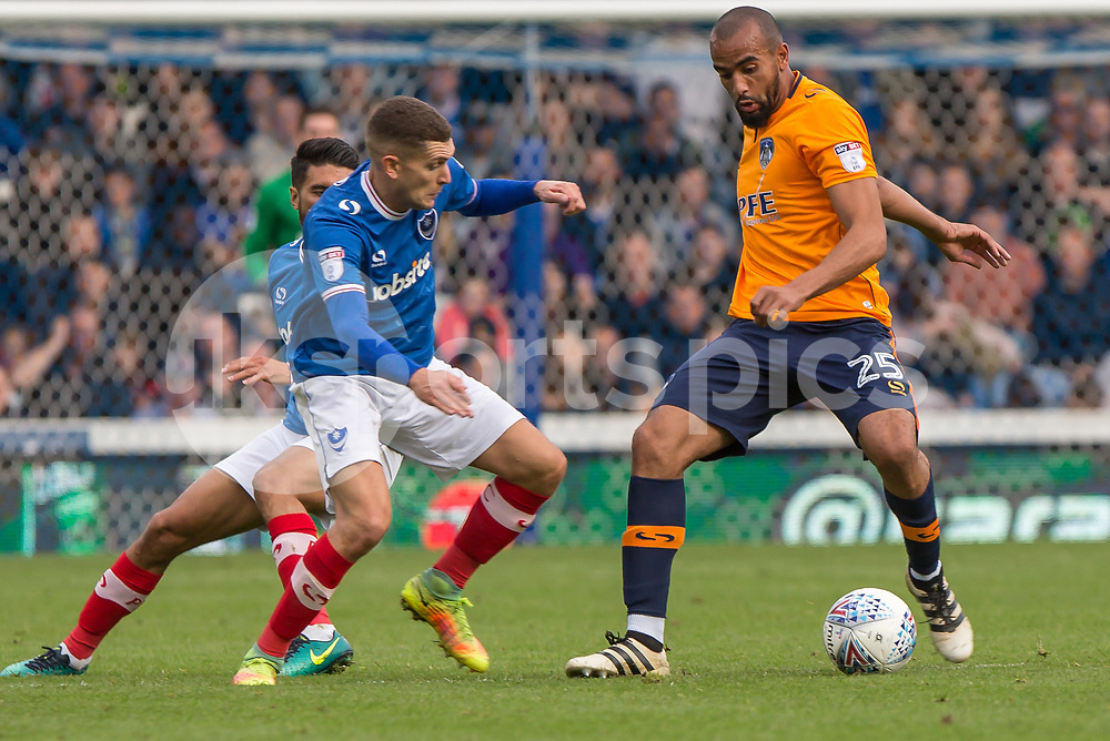 Abdelhakim Omrani of Oldham Athletic during the EFL Sky Bet League 1 match between Portsmouth and Oldham Athletic at Fratton Park, Portsmouth, England on 30 September 2017. Photo by Simon Carlton.