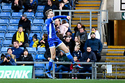 Hartlepool United defender Mark Kitching (3) scores a goal and celebrates  0-1 during the The FA Cup match between Oxford United and Hartlepool United at the Kassam Stadium, Oxford, England on 4 January 2020.