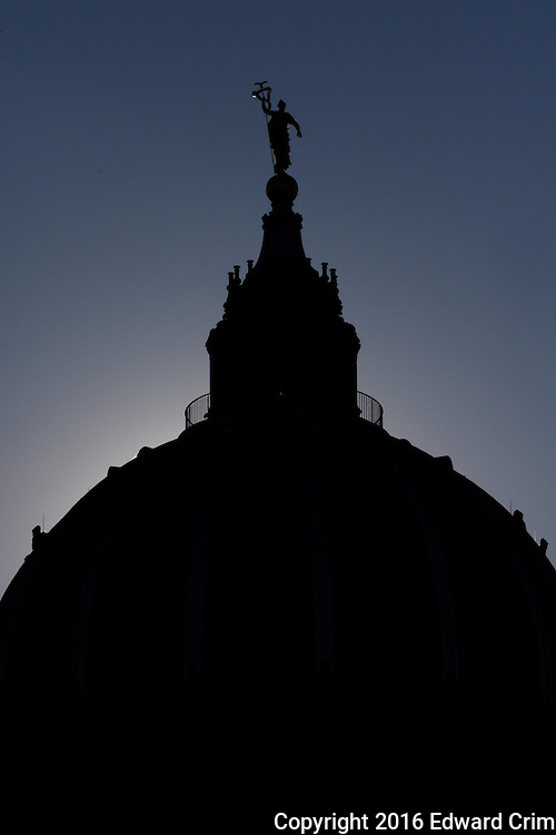 Silhouette of the dome of the Pennsylvania capitol in Harrisburg as viewed from the east side