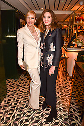 Left to right, Tania Bryer and Trinny Woodall at a party to celebrate the publication of Place by Tara Bernerd held at il Pampero at The Hari, 20 Chesham Place, London, England. 8 March 2017.
