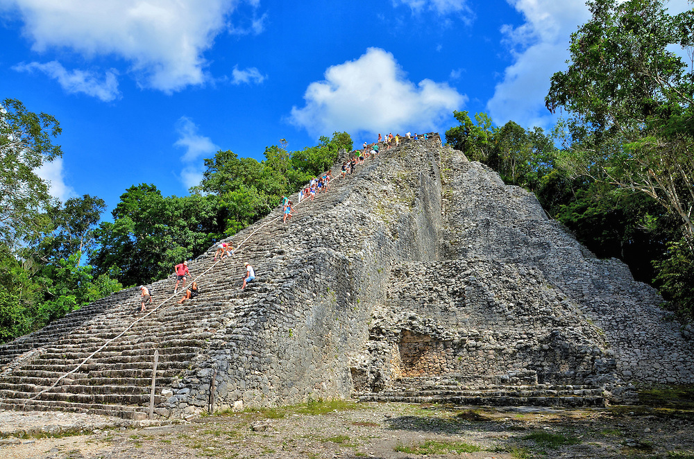 Ixmoja or Nohoch Mul Pyramid History at Mayan Ruins in Coba, Mexico<br />