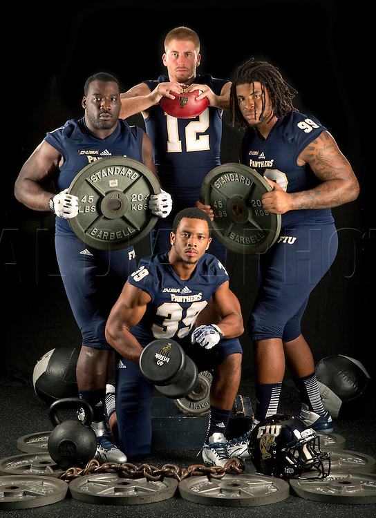 Florida International University football players; starting at top is quarterback Jake Medlock,  at right is, Isame Faciane, at bottom is Sam Miller, and at left is Greg Hickman on campus on Thursday, August 15, 2013.