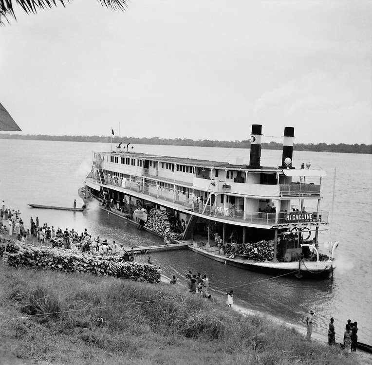 Unloading Goods from Barge, Coquilhatville (now Mbandaka), Belgian Congo (now Democratic Republic of the Congo), Africa, 1937