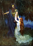 Brunhilde foremost of the Valkyries, daughter of Wotan and Erda, pleading with her father.  Illustration for the opera 'Die Walkure' by Richard Wagner.