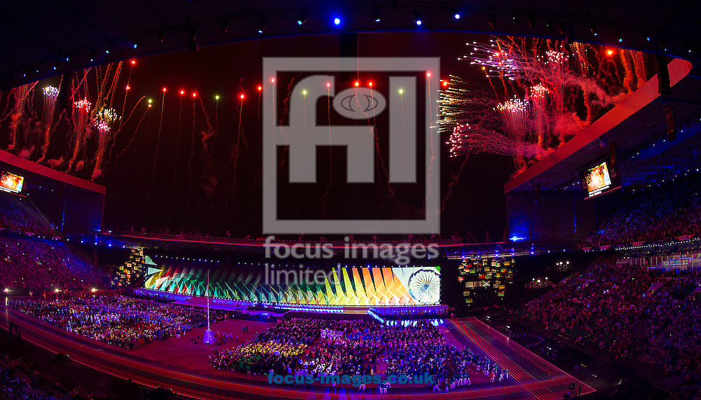 A general view of the stadium during the Glasgow 2014 Commonwealth Games Opening Ceremony at Celtic Park, Glasgow<br /> Picture by Paul Terry/Focus Images Ltd +44 7545 642257<br /> 23/07/2014