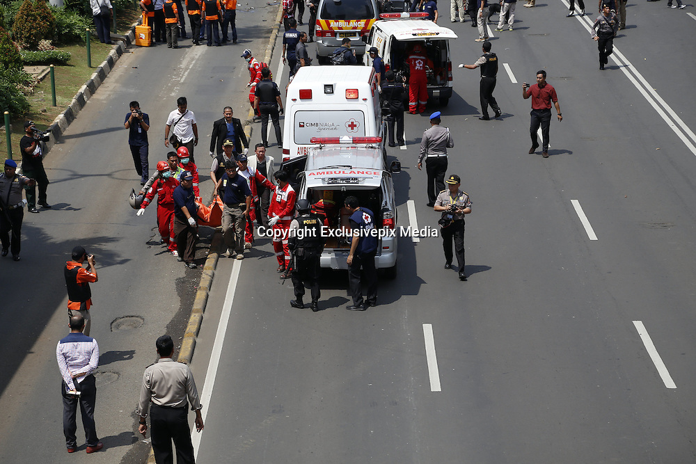 Jan. 13, 2016 - Jakarta, Jakarta, Indonesia - <br /> <br /> Vicitm of the bomb carried to ambulance. Several terrorist attack starbucks cafe at sarinah-Jakarta, causing around 6 people dead.<br /> ©Exclusivepix Media