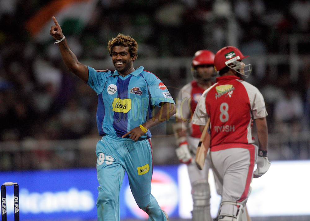 DURBAN, SOUTH AFRICA - 29 April 2009. Lasith Malinga celebrates the wicket of Piyush Chawla during the IPL Season 2 match between Kings X1 and the Mumbai Indians held at Sahara Stadium Kingsmead, Durban, South Africa..