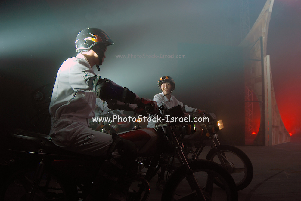 Bellucci Circus performed in Tel Aviv, Israel in April daredevil on a motorcycle