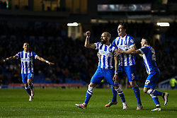 Goal, Bruno Saltor of Brighton & Hove Albion scores, Brighton & Hove Albion 3-0 Fulham - Mandatory byline: Jason Brown/JMP - 07966 386802 - 15/04/2016 - FOOTBALL - American Express Community Stadium - Brighton,  England - Brighton & Hove Albion v Fulham - Championship