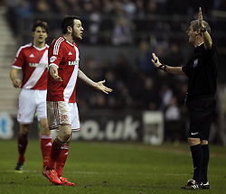 Middlesbrough's Lee Tomlin complains to referee Andy D'Urso - Photo mandatory by-line: Robbie Stephenson/JMP - Mobile: 07966 386802 - 17/03/2015 - SPORT - Football - Derby - iPro Stadium - Derby County v Middlesbrough - Sky Bet Championship