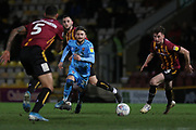 Alfie May and Paudie O'Connor  during the EFL Sky Bet League 2 match between Bradford City and Cheltenham Town at the Utilita Energy Stadium, Bradford, England on 28 January 2020.