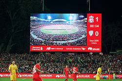 ADELAIDE, AUSTRALIA - Monday, July 20, 2015: The scoreboard as Liverpool take on Adelaide United during a preseason friendly match at the Adelaide Oval on day eight of the club's preseason tour. (Pic by David Rawcliffe/Propaganda)