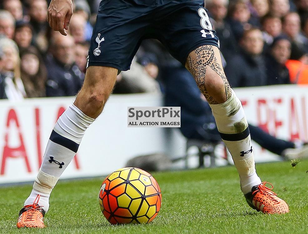 The tattoo of Ryan Mason During Tottenham Hotspur vs Chelsea on Sunday the 29th November 2015.