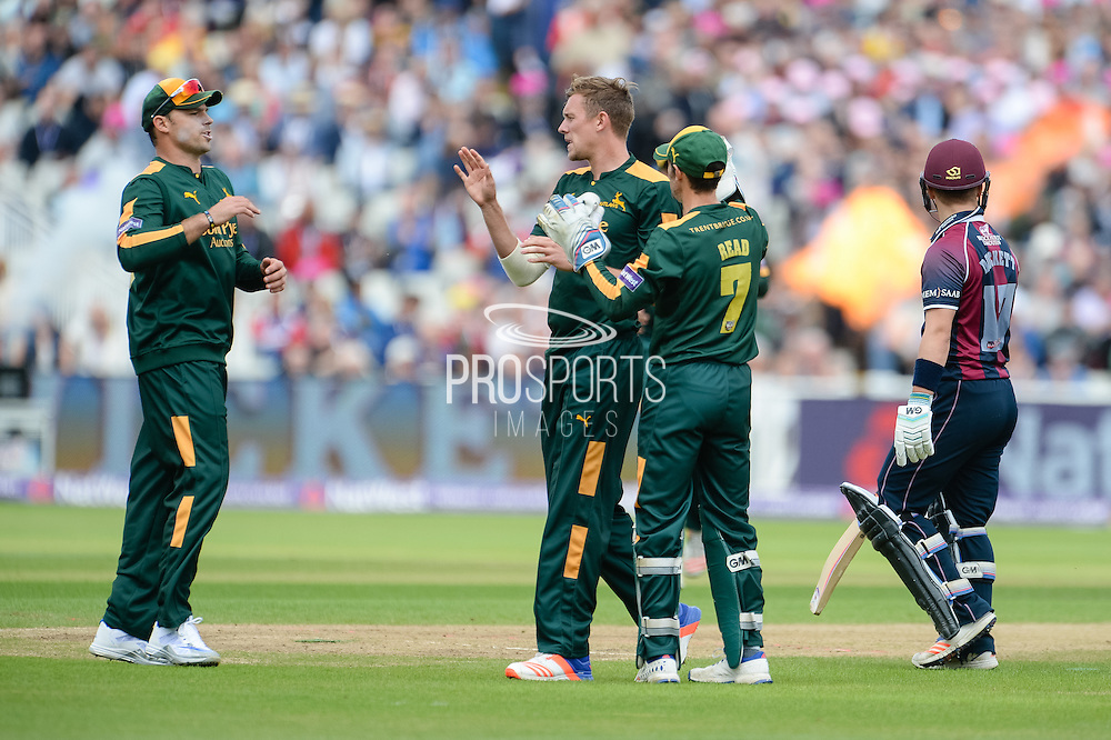 Notts Outlaws Celebrate the wicket of Ben Duckett during the NatWest T20 Blast Semi Final match between Nottinghamshire County Cricket Club and Northamptonshire County Cricket Club at Edgbaston, Birmingham, United Kingdom on 20 August 2016. Photo by David Vokes.