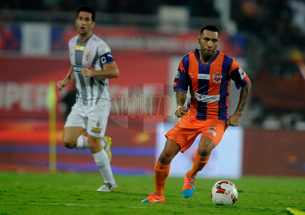 Jermaine Pennant of FC Pune City in action during match 44 of the Hero Indian Super League between FC Pune City and Atletico de Kolkata FC held at the Shree Shiv Chhatrapati Sports Complex Stadium, Pune, India on the 29th November 2014.<br /> <br /> Photo by:  Pal Pillai/ ISL/ SPORTZPICS