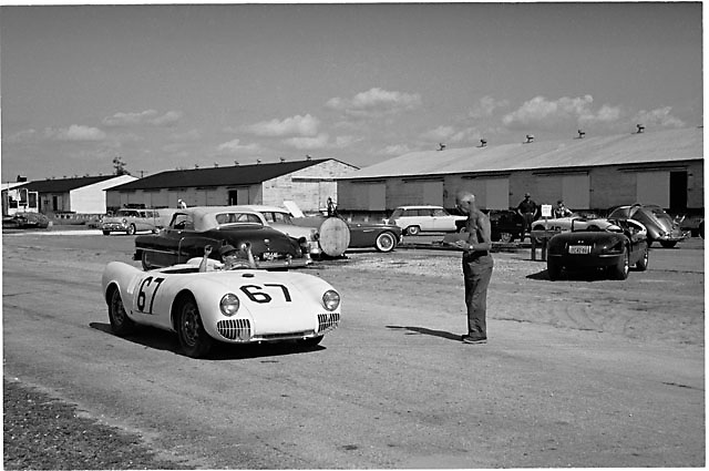 Brake Test for Porsche 550 no. 67 at 1955 Sebring race, please credit photo by Ozzie Lyons; Copyright Pete Lyons / petelyons.com