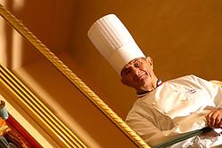"""Collonges au Mont d'Or (69) : Le chef etoile Paul Bocuse, surnomme """"Le Pape de la cuisine"""" chez lui a l'Auberge du pont de Collonges. (Mars 2006) High cuisine chef Paul Bose died at 91 it was announced on Saturday. Photo by Soudan/ANDBZ/ABACAPRESS.COM"""