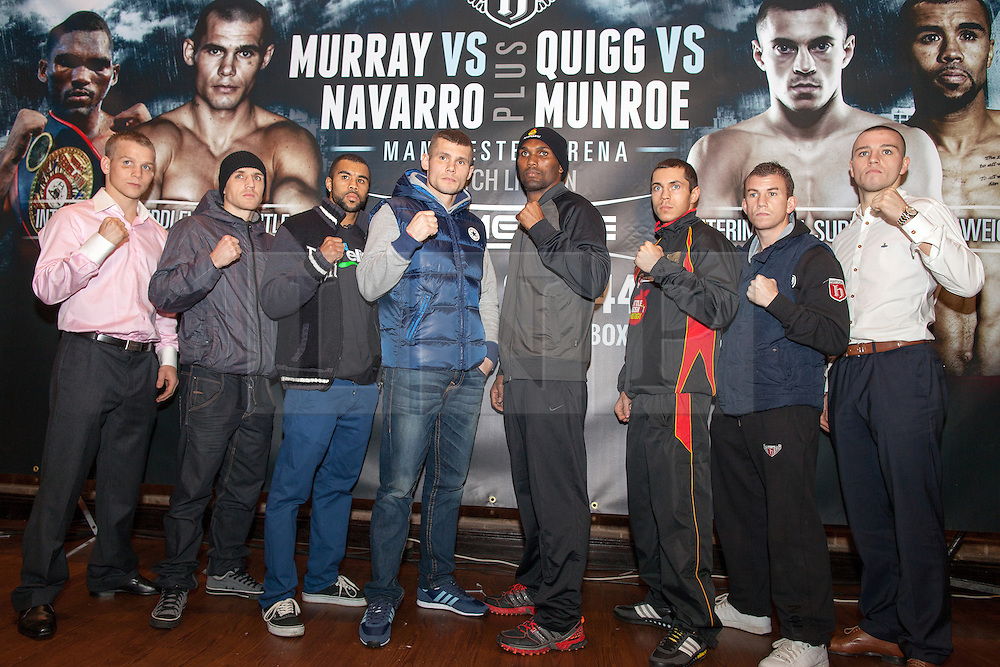 © Licensed to London News Pictures . 20/11/2012 . Manchester , UK . l-r Scott Jenkins , Stephen Foster , Rendall Munroe ,  Martin Murray , Jorge Navarro , Scott Quigg , Gary Buckland , Adam Etches . Hatton Promotions Ricky Hatton undercard press conference at Manchester's Hard Rock Cafe today (20th November 2012) ahead of bouts at the Manchester Arena on November 24th 2012 . Photo credit : Joel Goodman/LNP
