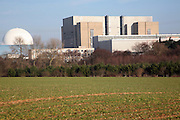 White dome of Sizewell B and the rectangle of now decommisioned Sizewell A, nuclear power station, Suffolk, England