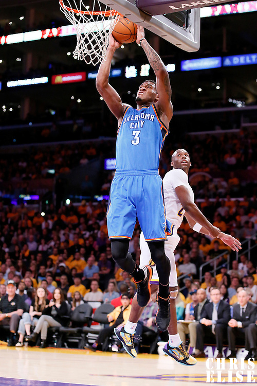 09 March 2014: Oklahoma City Thunder small forward Perry Jones (3) goes for the dunk during the Los Angeles Lakers 114-110 victory over the Oklahoma City Thunder at the Staples Center, Los Angeles, California, USA.