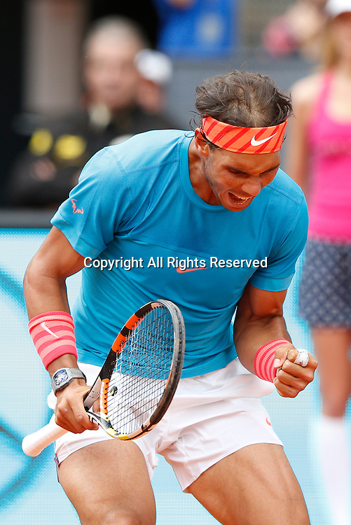 06.05.2015. Madrid, Spain, Madrid Open Tennis Tournament. Match played between Rafael NADAL (ESP) and Steve JOHNSON (USA)  Rafael NADAL during match from La Caja Magica.