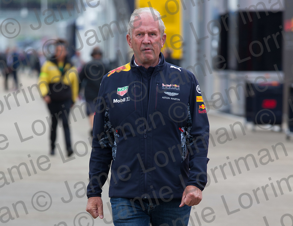 The 2017 Formula 1 Rolex British Grand Prix at Silverstone Circuit, Northamptonshire.<br /> <br /> Pictured: Red Bull's Dr Helmut Marko walks through the F1 paddock at Silverstone.<br /> <br /> Jamie Lorriman<br /> mail@jamielorriman.co.uk<br /> www.jamielorriman.co.uk<br /> +44 7718 900288