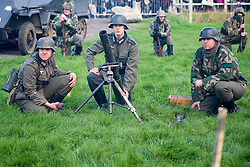 German 81mm mortar crew wait for the start of a battle reenactment on pickering showground during the 1940's Wartime weekend.<br />