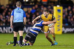Will Cliff of Bristol Rugby is tackled by Elliott Stooke of Bath Rugby - Rogan Thomson/JMP - 18/11/2016 - RUGBY UNION - Recreation Ground - Bath, England - Bath Rugby v Bristol Rugby - Aviva Premiership.