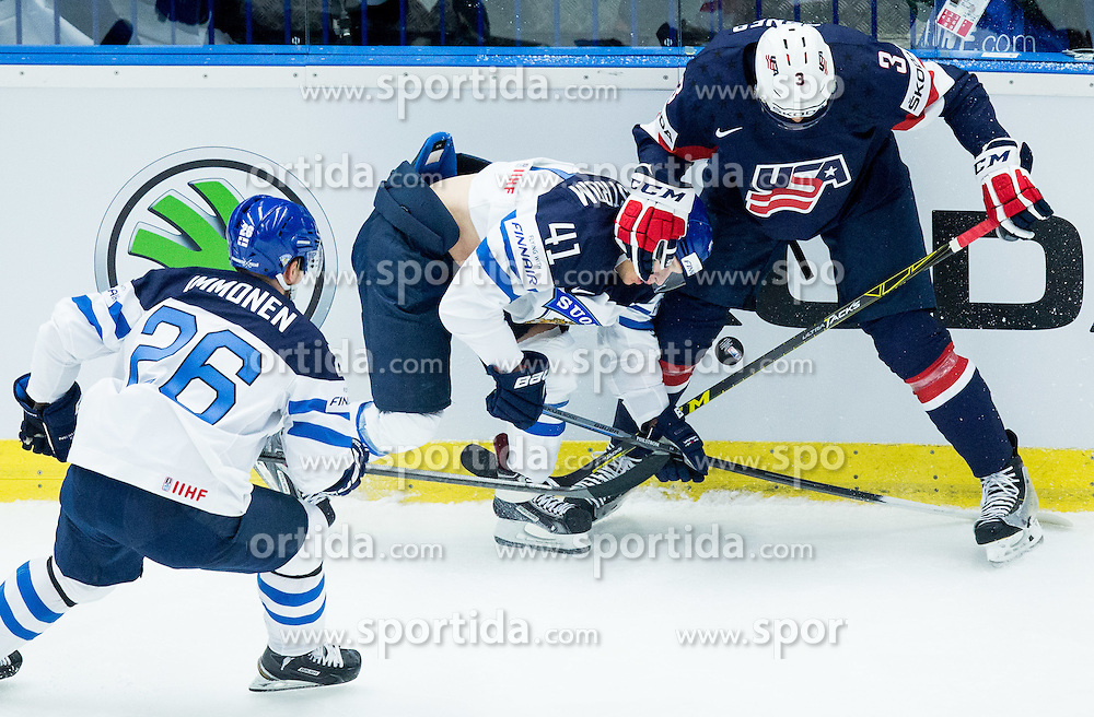 Antti Pihlstrom of Finland vs Seth Jones of USA during Ice Hockey match between USA and Finland at Day 1 in Group B of 2015 IIHF World Championship, on May 1, 2015 in CEZ Arena, Ostrava, Czech Republic. Photo by Vid Ponikvar / Sportida