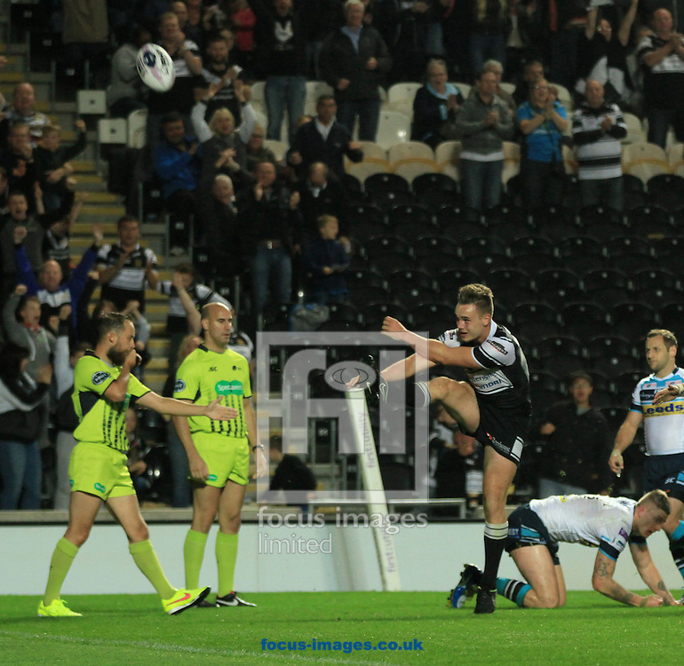 Jack Logan of Hull Football Club celebrates his first try of the game during the First Utility Super League match at KC Stadium, Hull<br /> Picture by Richard Gould/Focus Images Ltd +44 7855 403186<br /> 12/09/2014