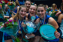 Sliedrecht Sport celebrate with Jolijn de Haan #4 of Sliedrecht Sport, Brechje Kraaijvanger #2 of Sliedrecht Sport, Lisanne Baak #9 of Sliedrecht Sport Sliedrecht win 3-0 in the cup final between Sliedrecht Sport and Laudame Financials VCN on February 16, 2020 in De Maaspoort in Den Bosch.