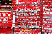 Bayern Munich flags being sold outside the Allianz Arena before the Champions League match between Bayern Munich and Liverpool at the Allianz Arena, Munich, Germany, on 13 March 2019.