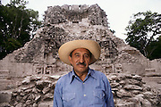 Roman Pinachen, archeologist at the Mayan ruins of Chicana, Yucatan, Mexico. MODEL RELEASED.