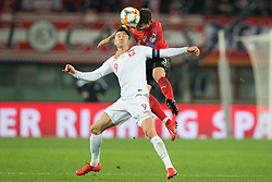 March 21, 2019 - Vienna, Austria - Robert Lewandowski of Poland and Aleksandar Dragovic of Austra during the UEFA European Qualifiers 2020 match between Austria and Poland at Ernst Happel Stadium in Vienna, Austria on March 21, 2019. (Credit Image: © Foto Olimpik/NurPhoto via ZUMA Press)
