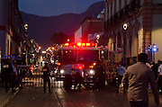 Security measures for the Noche de Rabanos festival include traffic barriers, Auxiliary Police, State Police, and firetrucks.