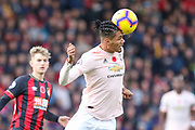 Manchester United Defender Chris Smalling heads ball clear during the Premier League match between Bournemouth and Manchester United at the Vitality Stadium, Bournemouth, England on 3 November 2018.