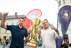 Slovenian EuroVolley Ambassador Tomislav Šmuc and OZS President Metod Ropret presented a glittering gold-plated EuroVolley trophy with 99 days to go and 99 Mini Volleyball courts were available in Ljubljana downtown to promote the CEV EuroVolley 2019 Men, on June 5th, 2019, in front of the Town Hall, Ljubljana, Slovenia. Photo by Vid Ponikvar / Sportida
