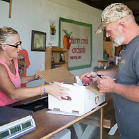Cherry Creek Orchards employee Judy Acevedo, left, helps Dan Hall purchase a box of peaches Wednesday morning at the orchard in Pontotoc.