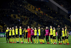 Borussia Dortmund players acknowledge the fans after the final whistle