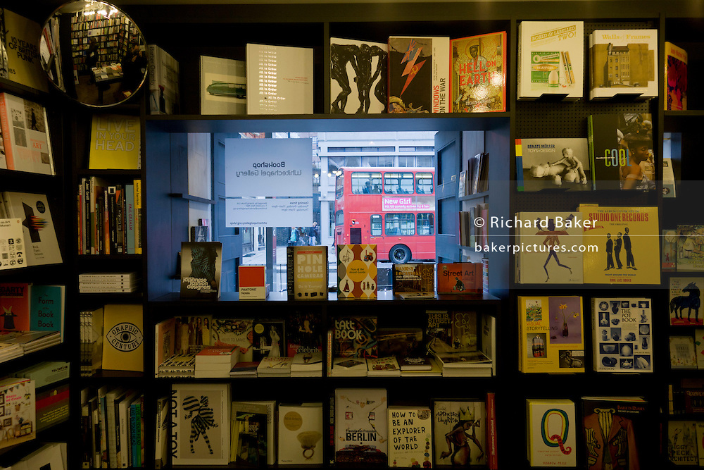 Books on sale in a London bookshop, the collection inside the Whitechapel Gallery in central London.