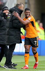 Wolverhampton Wanderers' Ivan Cavaleiro (right) celebrates scoring his side's second goal of the game with Wolverhampton Wanderers manager Nuno Espirito Santo (second right) during the Sky Bet Championship match at Riverside Stadium, Middlesbrough.