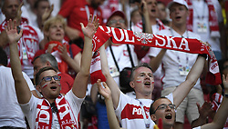 KAZAN, June 24, 2018  Fans of Poland cheer prior to the 2018 FIFA World Cup Group H match between Poland and Colombia in Kazan, Russia, June 24, 2018. (Credit Image: © Lui Siu Wai/Xinhua via ZUMA Wire)