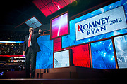 Presidential Hopeful Mitt Romney (R-Ut) holds his acceptance speech after being nominated as the Republican candidate for US President at the Republican National Convention in Tampa.