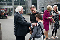 21/07/2018 repro free: President Michael D. Higgins  at the First Thought Talks strand at Galway International Arts Festival on Saturday July 21 in the Bailey Allen Hall in NUI Galway. The President launched this year&rsquo;s talks series with a reflection on the theme of home, which is the main theme of the talks. <br /> Afterwards he me with Harry and Johnny Donnelly, OPeratoina Manager at GIAF.<br /> The First Thought Talks programme at GIAF features a series of interviews, conversations and debate which will examine the theme of home, curated by historian and archivist Catriona Crowe. First Thought Talks 2018 features 18 talks from academics, activists, architects, reporters, poets and writers with 43 participants including President Michael D. Higgins, Catherine Corless, Andrew O&rsquo;Hagan, John Lanchester, Sarah Hickson, Liz Fekete, Roy Foster, Tomi Reichental, Mitchell Joachim, Paula Meehan, Lucy McDiarmid and Diarmuid Ferriter amongst an extensive number of leading international voices and journalists from around the world. For more see www.giaf.ie<br /> Pictures: Andrew Downes/Xposure