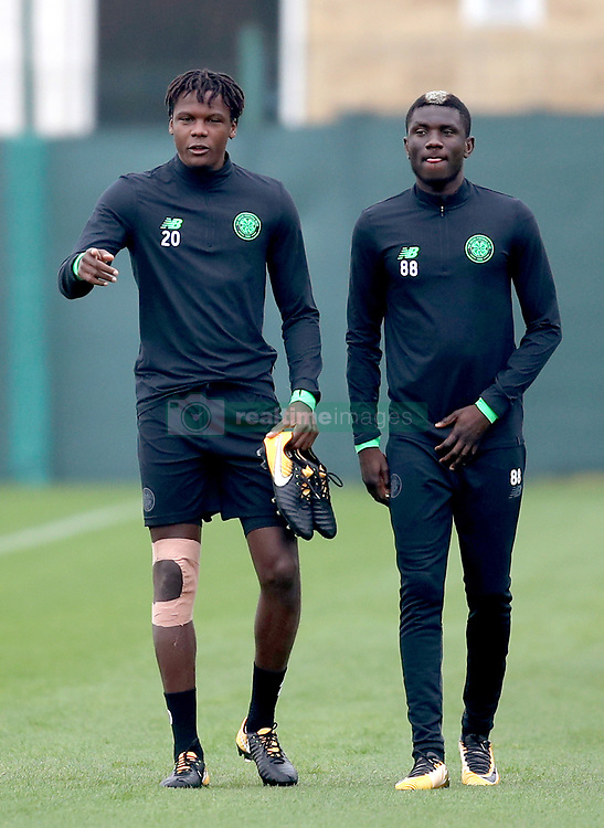 Celtic's Dedryck Boyata (left) and Eboue Kouassi during the training session at Lennoxtown, Glasgow.