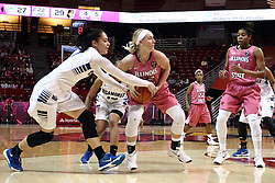 05 February 2016: Ashley Taia reaches out and steals the ball from the hands of Taylor Stewart(32). Illinois State University Women's Redbird Basketball team hosted the Sycamores of Indiana State for a Play4 Kay game at Redbird Arena in Normal Illinois.